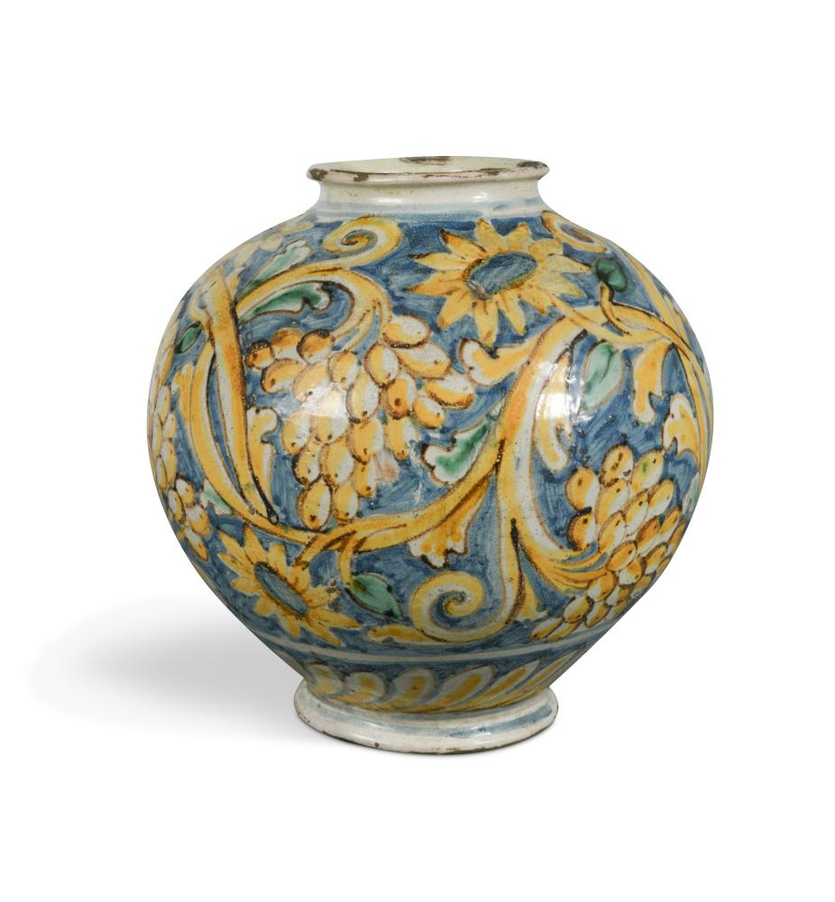 Lot 50 - A 17th century Italian maiolica globular vase, decorated in yellow, green and blue with fruiting