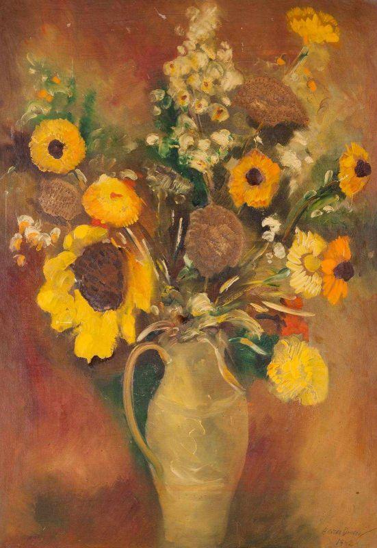 Lot 98 - HERM DIENZ 1891 Koblenz - 1980 Siegburg Stillleben mit Sommerblumen Öl auf Platte. 68 x 47 cm. Unten