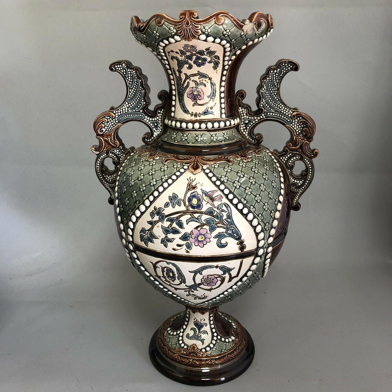 Lot 46 - Pair of Antique Austrian Gerbing & Stephan Majolica Pottery Vases c.1880