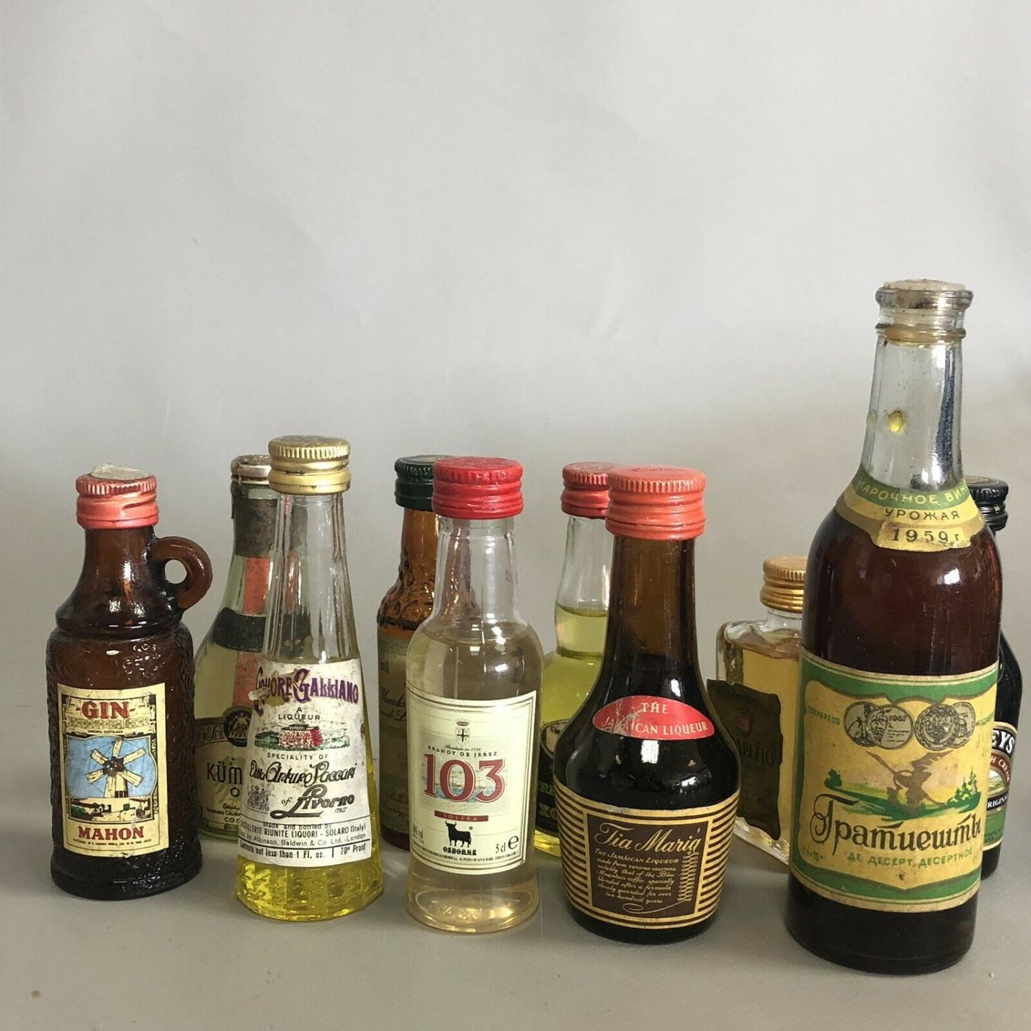 A parcel of 10 alcoholic drink miniatures with free UK delivery and No Reserve