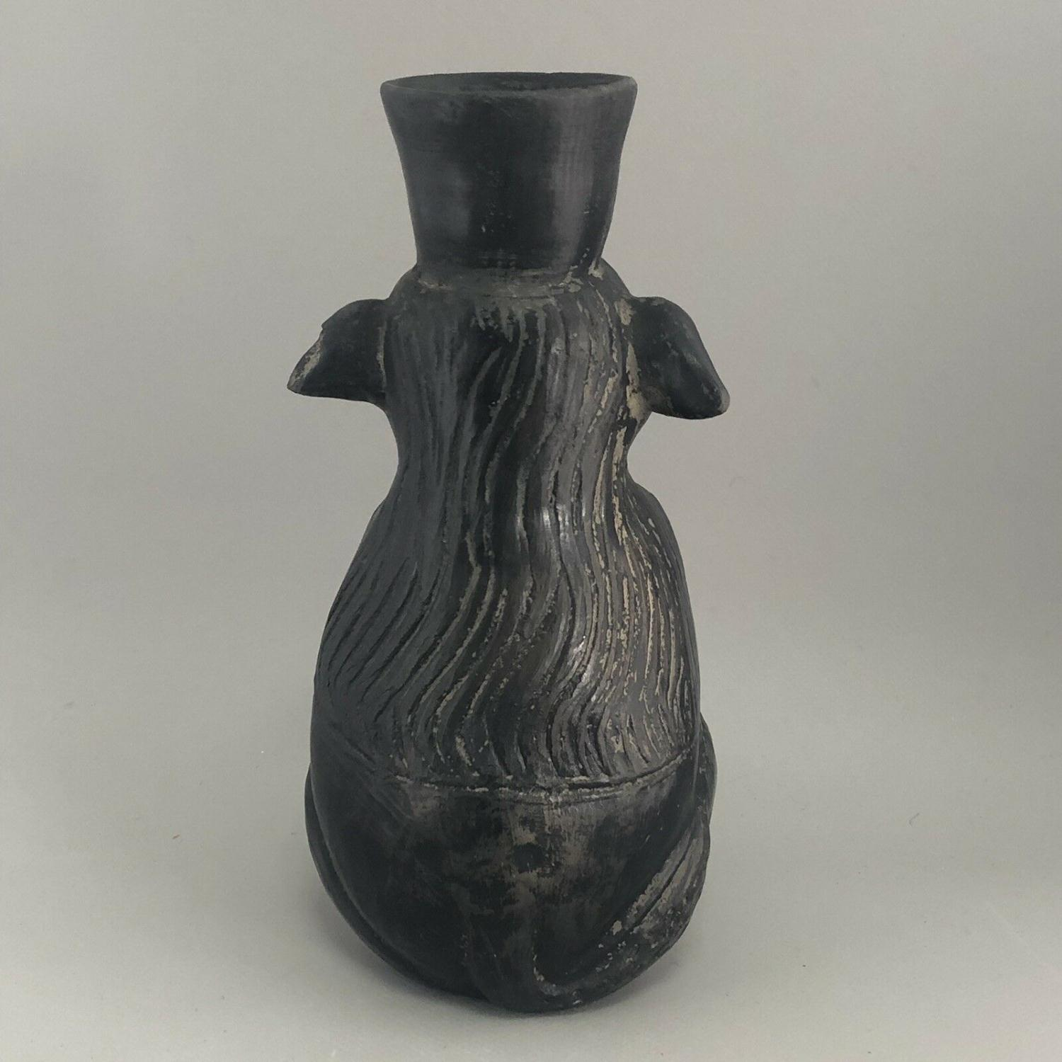 Lot 47 - Antique Primitive South American Clay Pottery Figural Dog Vase