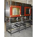 1 x Tom Chandley Double C5 60X40 Pie Oven With Stainless Steel Baking Tray Prep Bench - CL455 - Ref