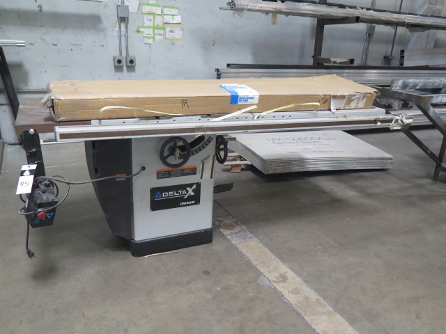 "Lot 45 - 2008 Delta 'Unisaw"" mdl. 36-L31X Table Saw s/n 08B11269 w/ 27"" x 84"" Extended Table, Blade Guard"