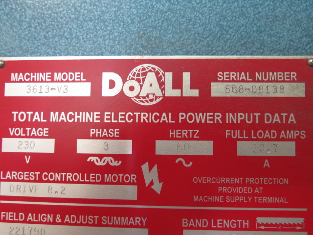 "Lot 34 - DoAll mdl. 3613-V3 36"" Vertical Band Saw s/n 568-08138 w/ 30-5500 Dial FPM, 26"" x 26"" Table"