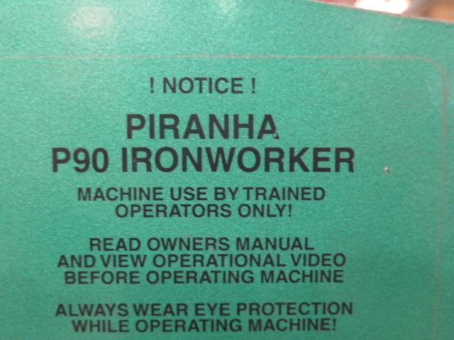 """2010 Piranha P-90 90-Ton Iron Worker s/m P90-2012 w/ 1 1/8"""" thru 1"""" Punch Cap., 1"""" x 12"""" – ¾"""" x - Image 6 of 16"""