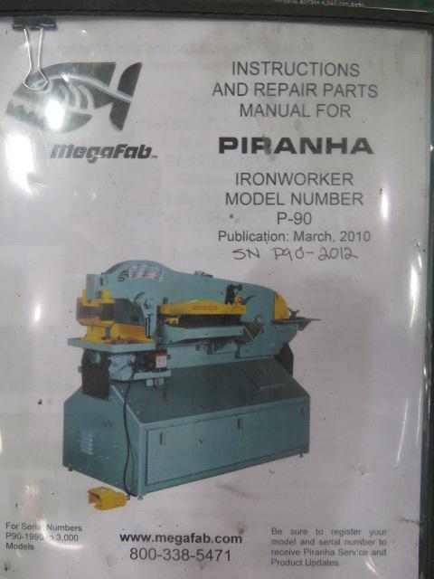 """2010 Piranha P-90 90-Ton Iron Worker s/m P90-2012 w/ 1 1/8"""" thru 1"""" Punch Cap., 1"""" x 12"""" – ¾"""" x - Image 15 of 16"""