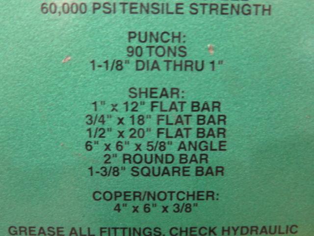 """2010 Piranha P-90 90-Ton Iron Worker s/m P90-2012 w/ 1 1/8"""" thru 1"""" Punch Cap., 1"""" x 12"""" – ¾"""" x - Image 7 of 16"""