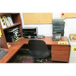L-SHAPED WOOD DESK WITH CHAIR AND CONTENTS - EXCLUDES THE PHONE AND ANY OTHER TAGGED ITEMS ON THE