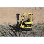 "HYSTER, E60XM,-33, 5,800 LBS. 3 STAGE, 48V, BATTERY POWERED FORKLIFT, SIDESHIFT, 181"" MAX LIFT"