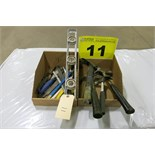 LOT OF HAMMERS, FILES, HACK SAWS AND LEVEL