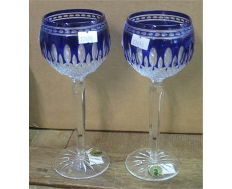 Pair of Waterford crystal 'Clarendon' cobalt hock glasses. (2)(B.P. 21% + VAT)