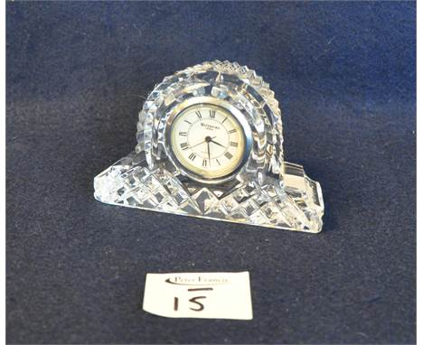Small Waterford cut crystal glass hat shaped boudoir clock with Roman numerals, 6.5cm high approx. (B.P. 21% + VAT) No obviou