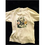 Lot 79 - Britney Spears stage worn t-shirt depicting a baby tiger with flowers and a butterfly together