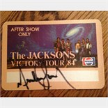 "Signed Michael Jackson """"Victory Tour' After show pass from tour."
