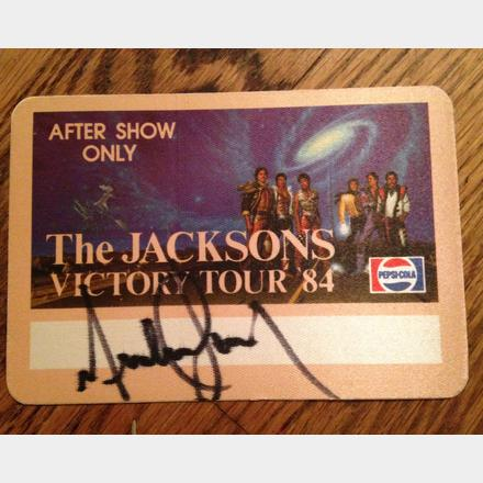 "Lot 59 - Signed Michael Jackson """"Victory Tour' After show pass from tour."