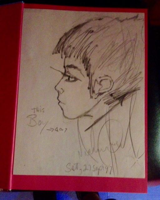 "Lot 44 - Michael Jackson- Head drawn. 8x11 Saturday 27th September 1997. """"This Boy"""""