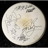 Starsailor: Stage-played Remo drumskin signed by band members with photograph of The Strokes, in
