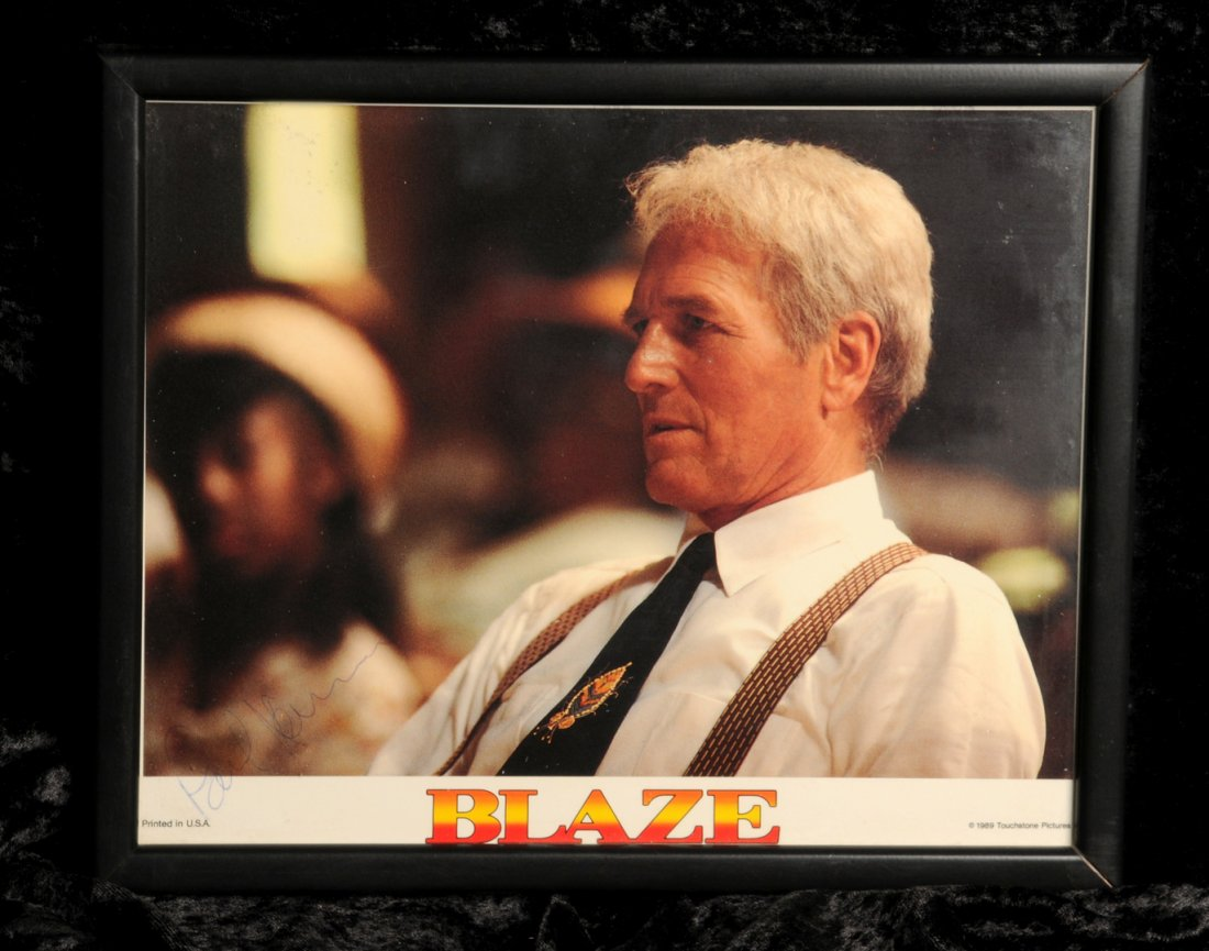 Lot 19 - Paul Newman: autographed still from 'Blaze', 1989, signed in blue ball point pen to lower left