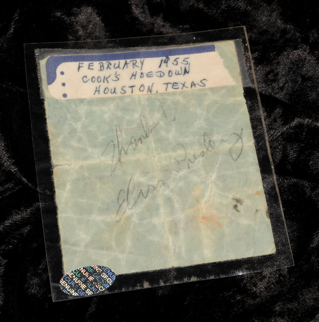 Lot 5 - Elvis Presley: An autographed receipt with original signature printing block, 1950s, the reciept