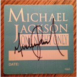 "Signed Michael Jackson """"One Night Only' Backstage pass from tour."