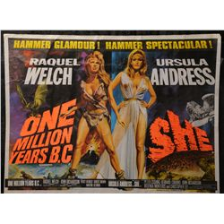 Lot 85 - Film: One Million Years B.C./She, British Quad Double Bill film poster, 1968 Artwork by Tom