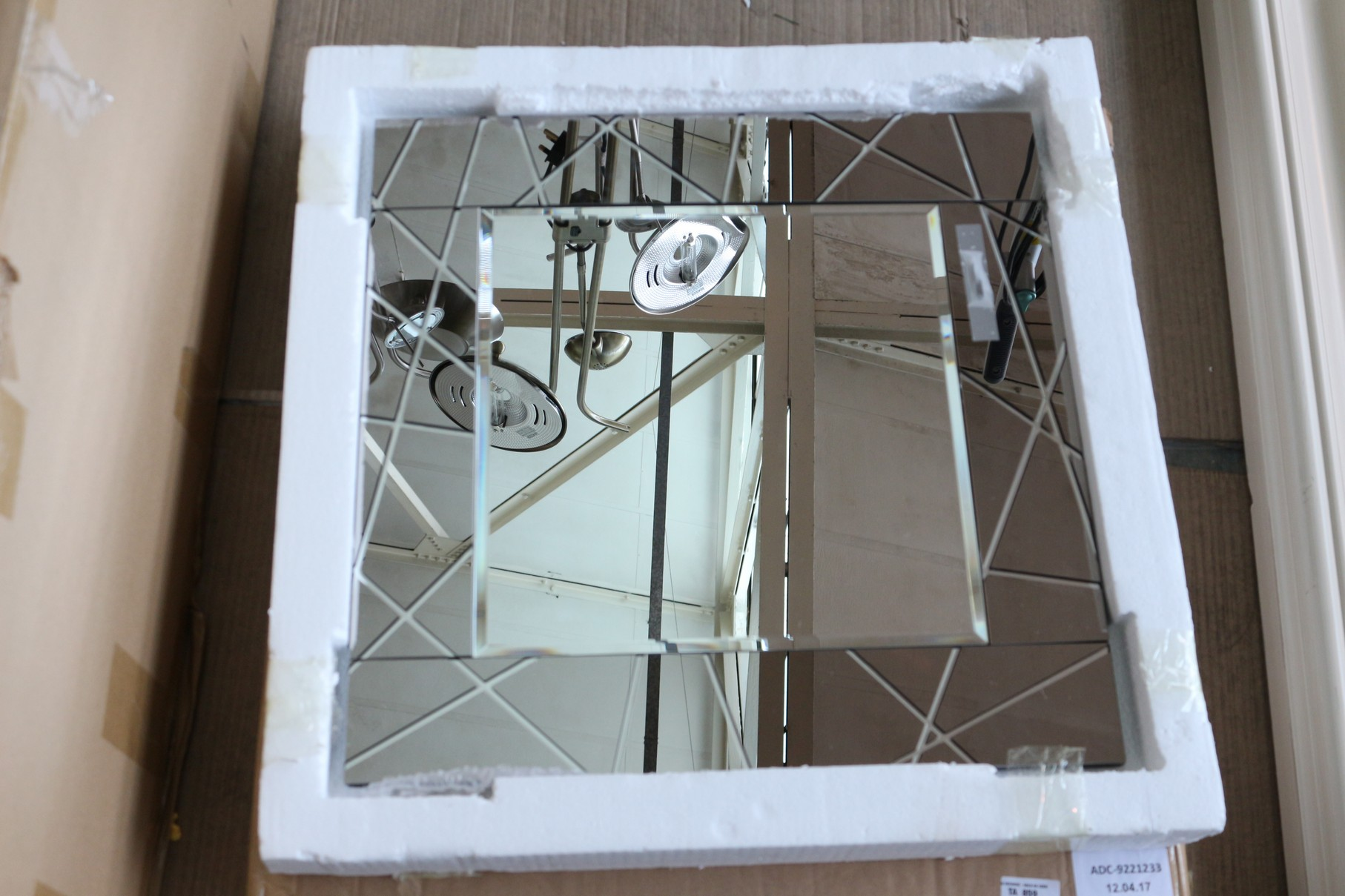 1x boxed smoked engraved mirror 50 x 50 cm rrp 80 adc for Mirror 80 x 50