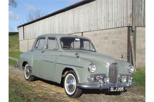 A 1955 Humber Hawk historic rally car, registration number