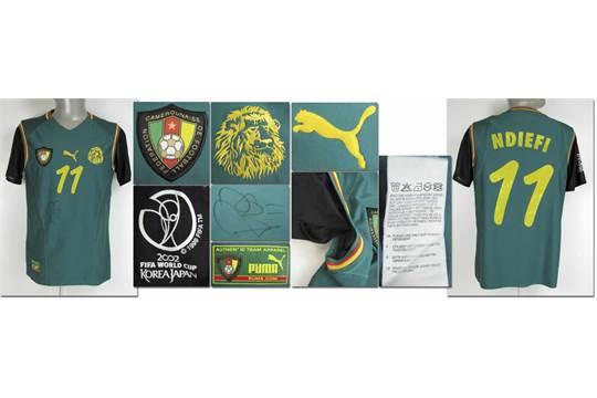 outlet store e2b00 0759a World Cup 2002 match worn football shirt Cameroon ...