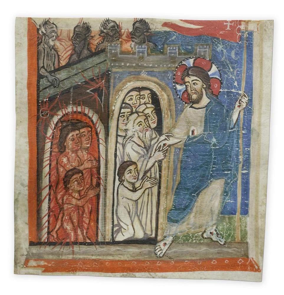 MASTER OF MONZA  Illuminated fragment of a Legenda Aurea with Christ in Limbo.  Vellum. Lombardy,