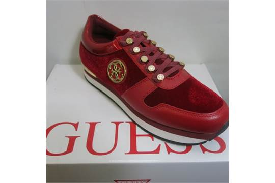 Guess Ladies Trainers in Red Leather