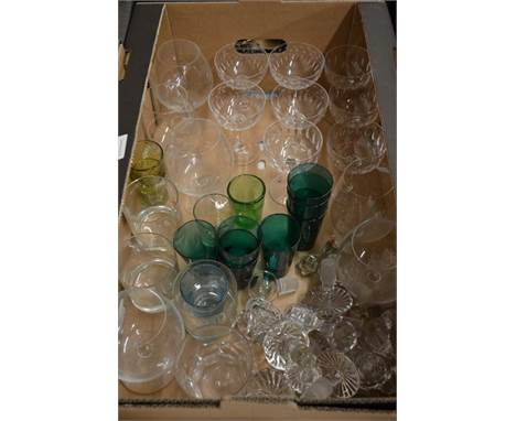 Seven Victorian green glass beakers, eight various cut glass champagne saucers, six brandy balloons, various antique decanter