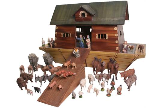 A Rare And Large Elastolin Noahs Ark And Animals German 1940s The