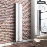 (UR18) 1600x475mm White Flat Panel Vertical Radiator. RRP £449.99.Ultra-modern in design we re...