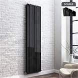 (UR21) 1800x470mm Single Gloss Black Flat Panel Vertical Radiator. RRP £359.99. Featuring a h...