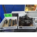 """LOT/ 10"""" 4 JAW CHUCK WITH LATHE TOOLING - CARBIDE INSERT TOOLS & CENTER"""