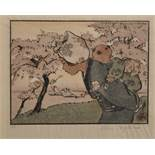 Helen Hyde (1868-1919) British. A Japanese Mother with a Child on her Back, Woodcut, Signed in