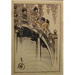 """Helen Hyde (1868-1919) British. Japanese Children on a Bridge, Woodcut, Signed in Pencil, 13.25"""" x"""