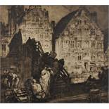 """Frank Brangwyn (1867-1956) British. """"Temporary Wooden Bridge at Ghent"""", Etching, Signed in Pencil,"""