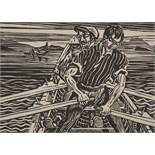 "Harry Aaron Kernoff (1900-1974) Irish. ""Rowing the Currach, Connemara"", Woodcut, Signed, Inscribed"