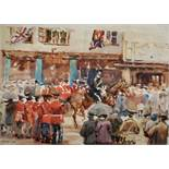 """20th Century English School. """"The Queen and King's Visit"""", Watercolour, Signed with Initials 'M."""