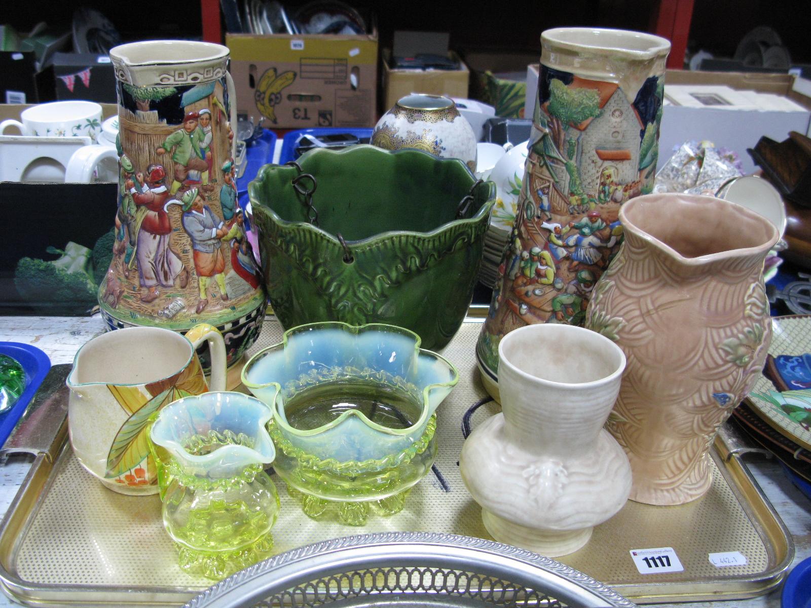 Lot 1117 - A XIX Century Glass Jug, Vaseline glass bowl, (damage). Two German jugs with raised decoration,