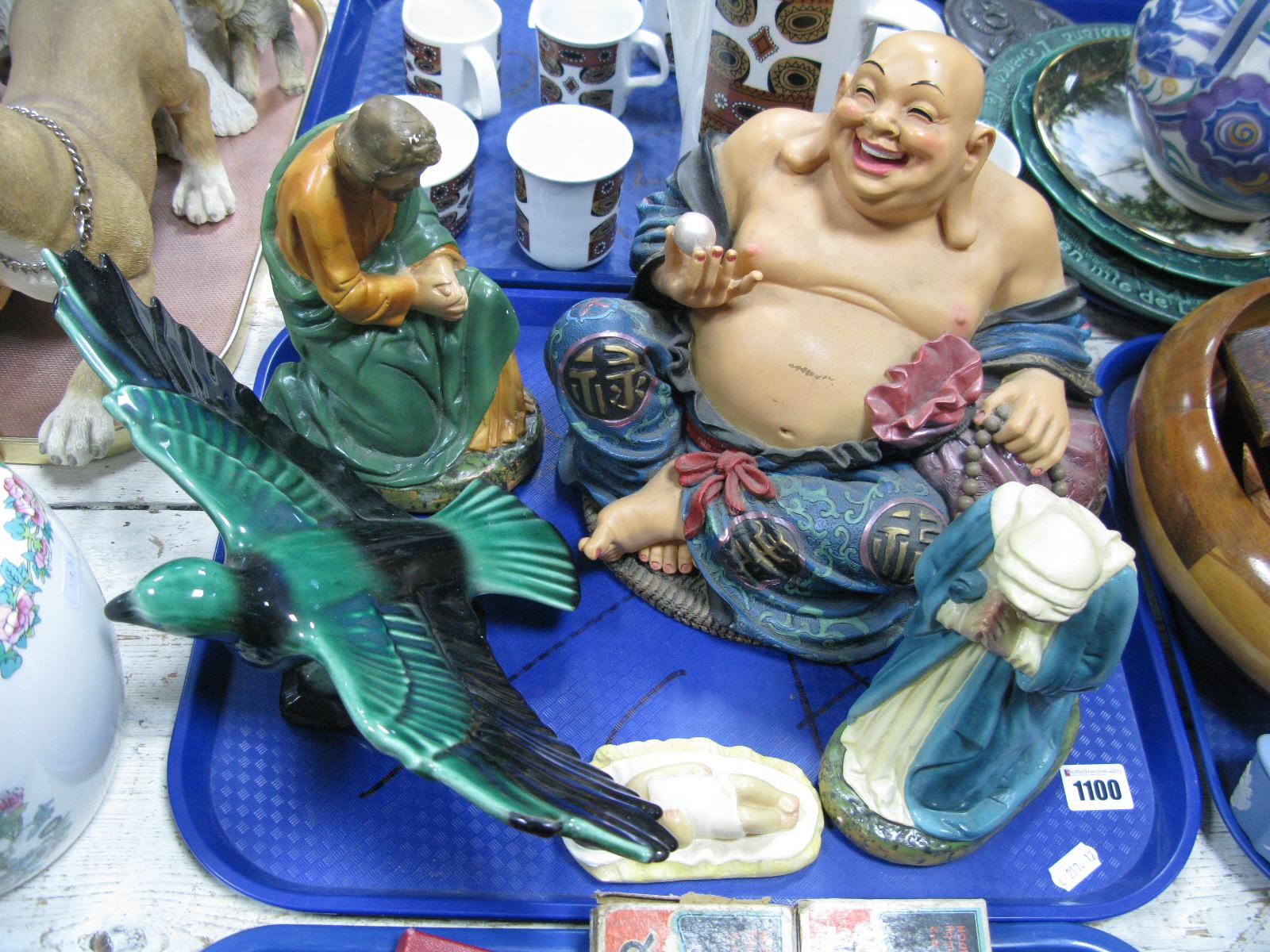 Lot 1100 - 1930's Plaster Religious Figures, resin Buddah, pottery bird: -One Tray