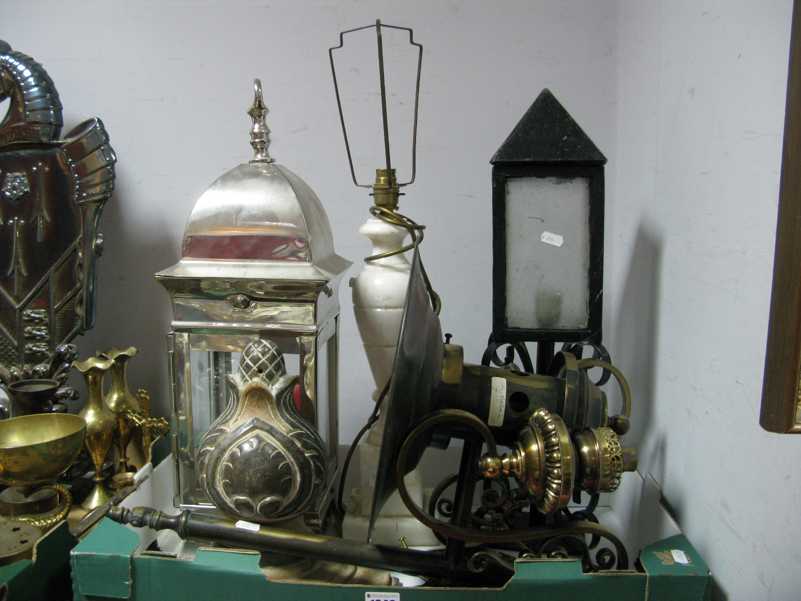 Lot 1048 - A Pair of Gilded Brass Wall Brackets, table lamp etc:- One Box