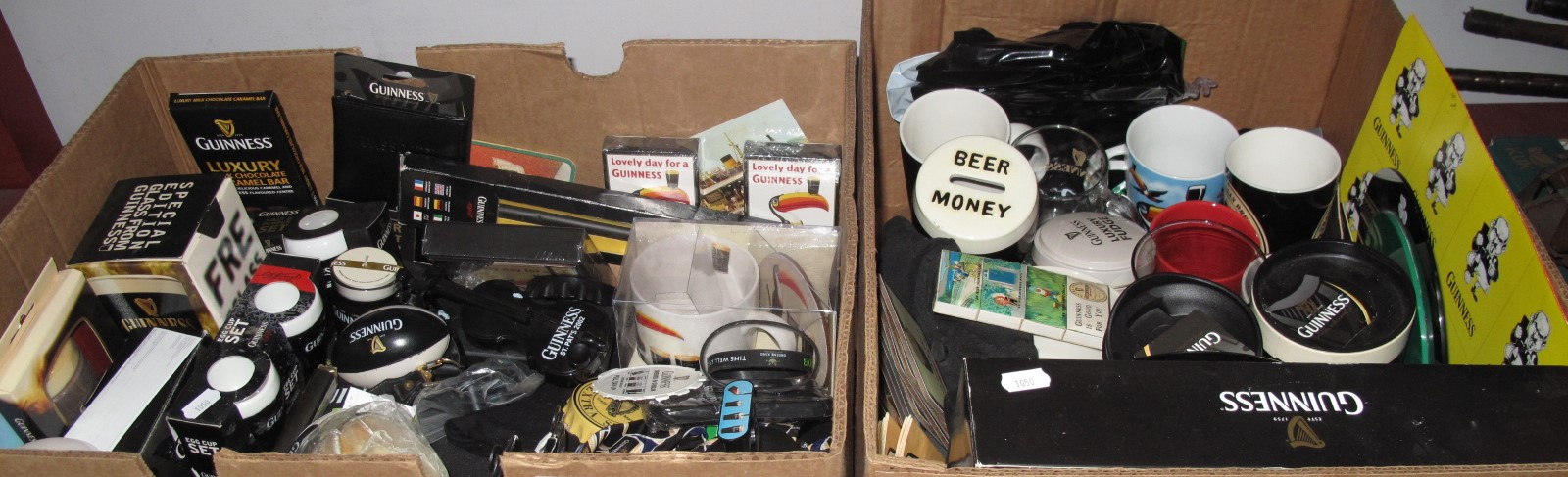 Lot 1050 - Guinness Memorabilia, to include socks, candle, tie, flute, coasters.