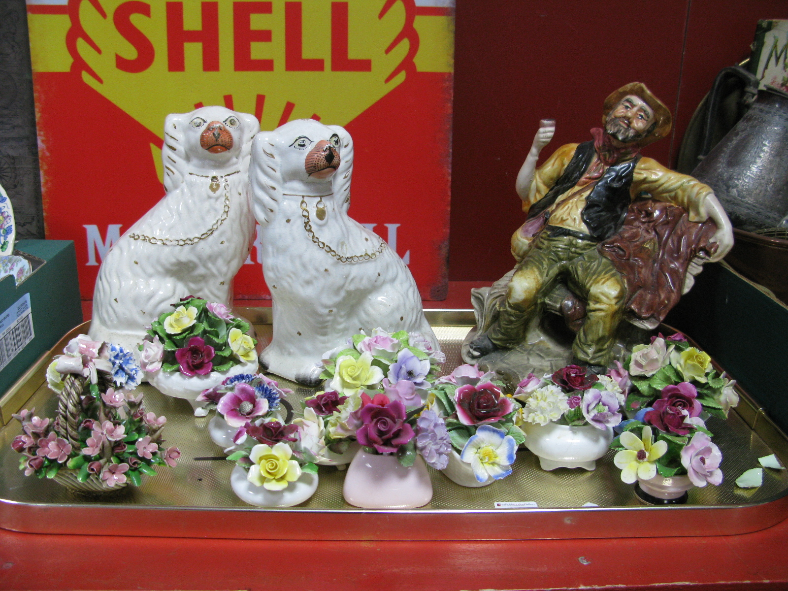 Lot 1008 - Capodimonte Figure, pair of Staffordshire dogs, floral posies:- One Tray