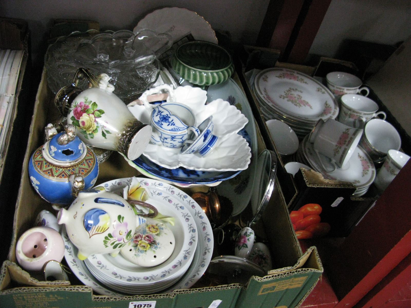 Lot 1075 - Tienshan Dinner Service, piggy bank, other ceramics, glassware, etc:- Two Boxes