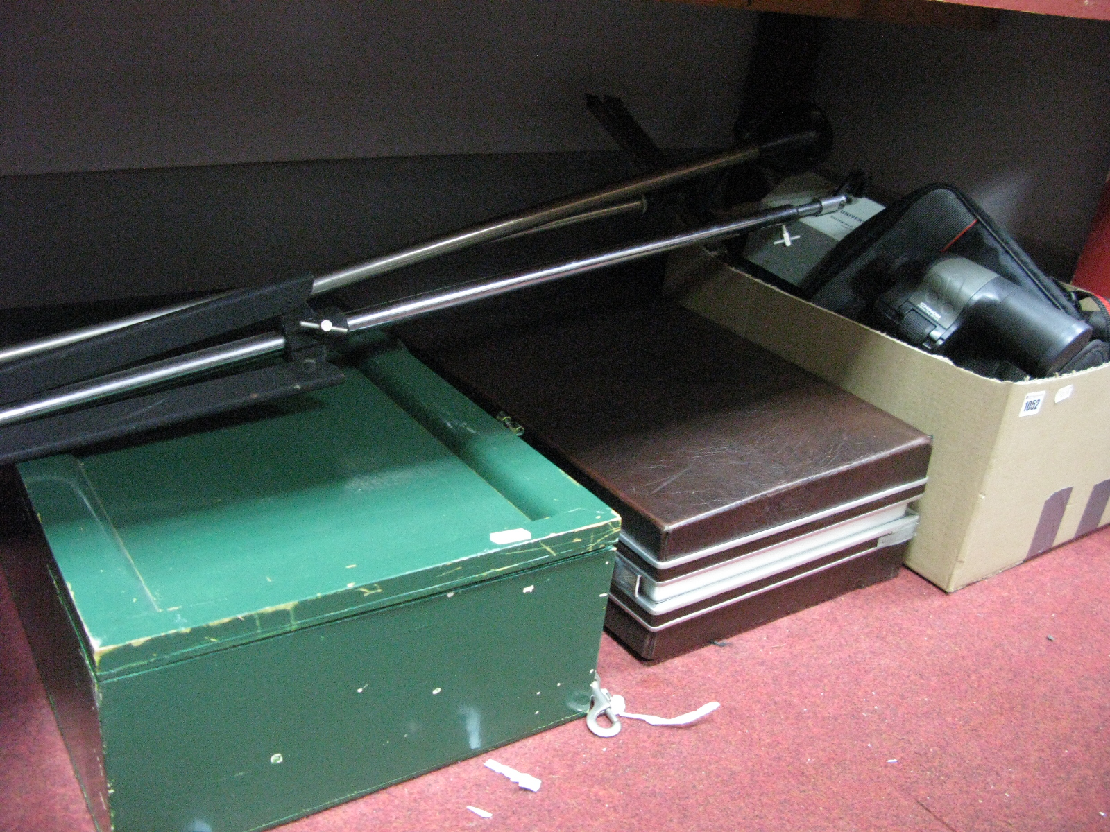 Lot 1052 - Camera Flight Cases, tripods, accessories, leads, cables, Atlas reflector bulbs, Chinon 10 x 50
