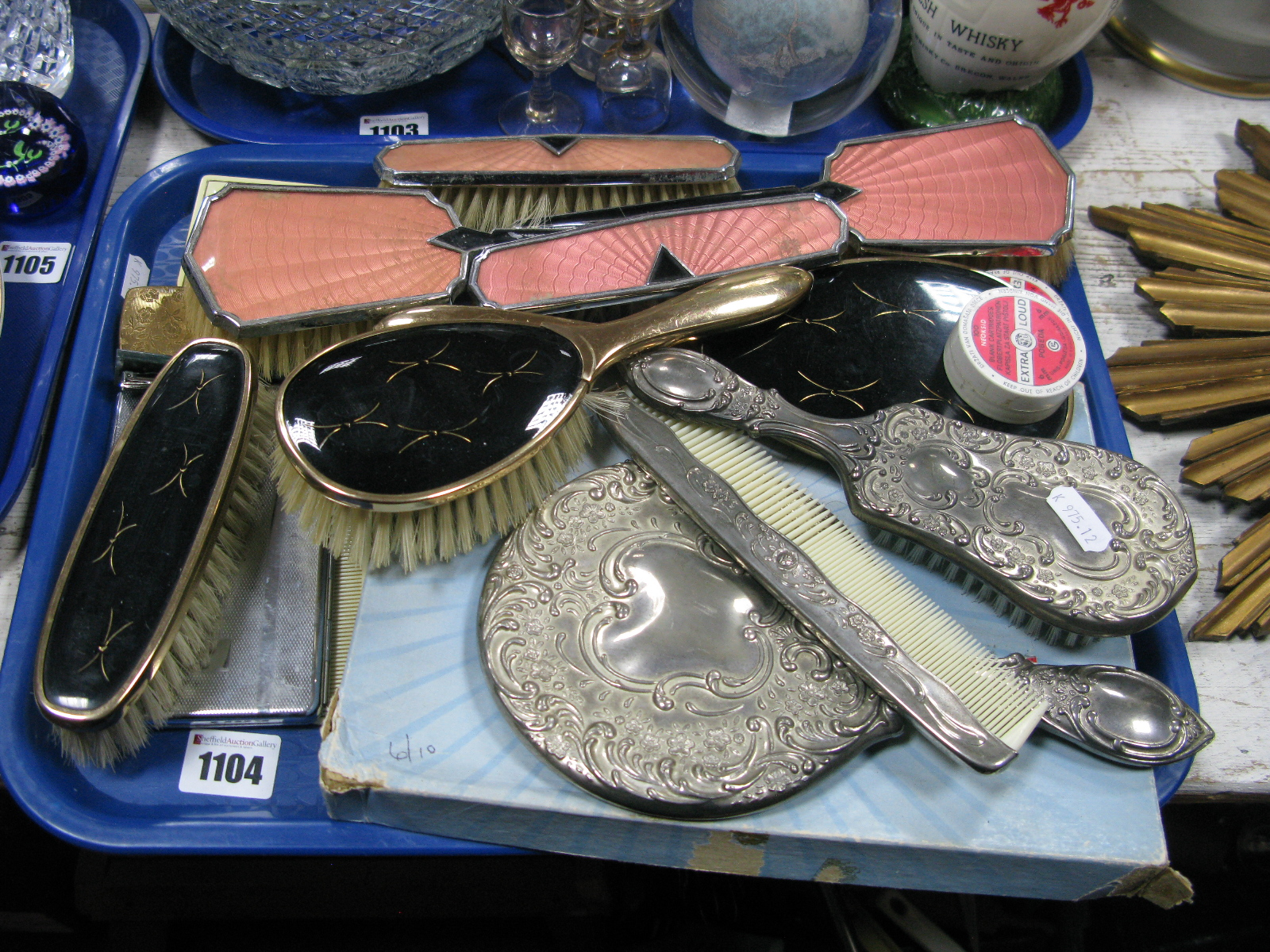 Lot 1104 - Mid XX Century Dressing Table Sets, cigarette case, Dorothy Vernon nylons (boxed), compacts, etc:-
