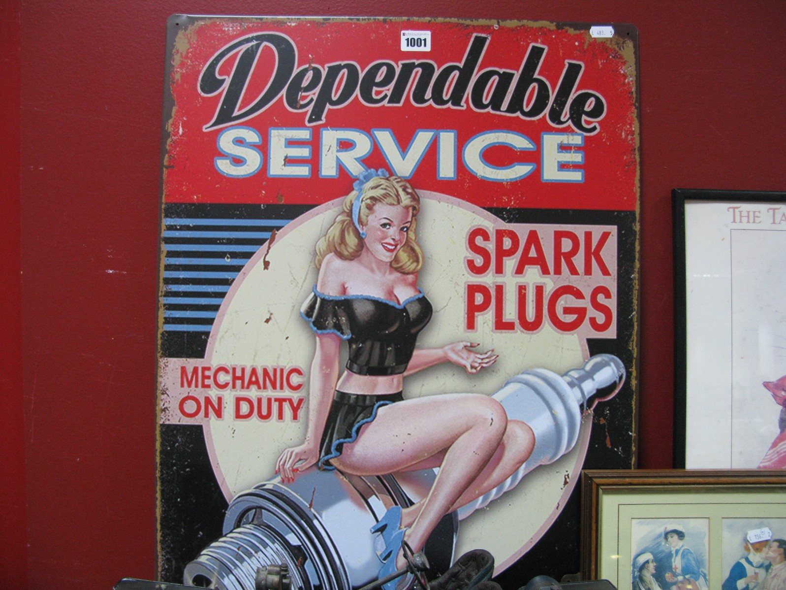 Lot 1001 - Dependable Service Spark Plugs Metal Wall Sign.