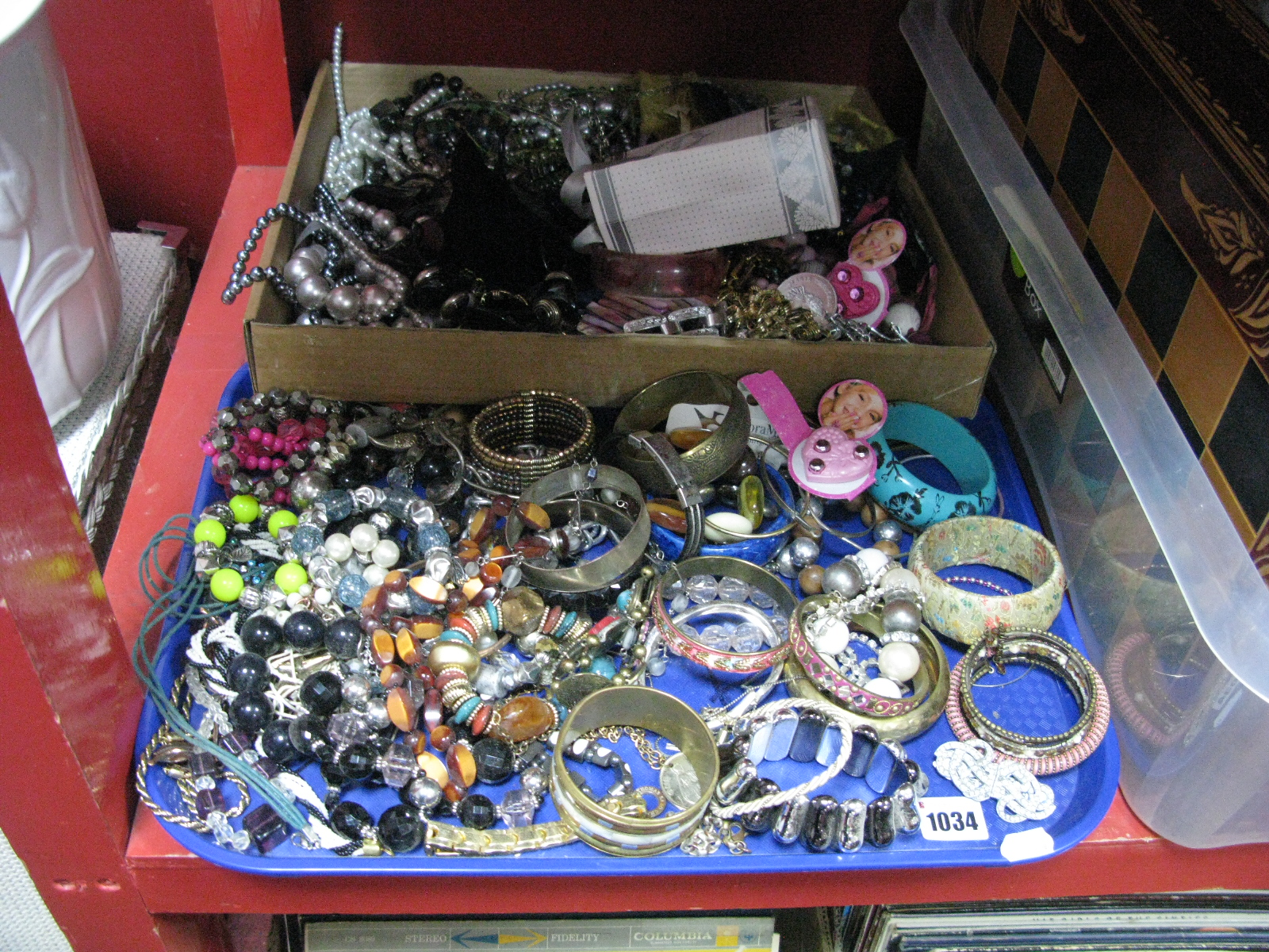 Lot 1034 - A Mixed Lot of Assorted Costume Jewellery, including tiara, beads, bangles, etc:- Two Trays